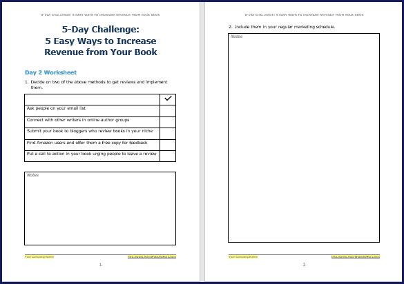Promote & Market Your Business Book - Challenge Worksheet 2