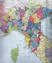 """Photo: Cartina  """"politica"""" che ricostruisce le suddivisioni territoriali dell'Italia settentrionale e centrale nel Basso Medioevo (1000-1200 circa). Da """"Viaggio nella storia. Grande Atlante Storico del mondo"""" TCI-La Repubblica. 1997"""
