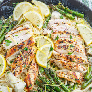 Creamy Lemon Grilled Chicken, Asparagus and Artichoke Pasta.