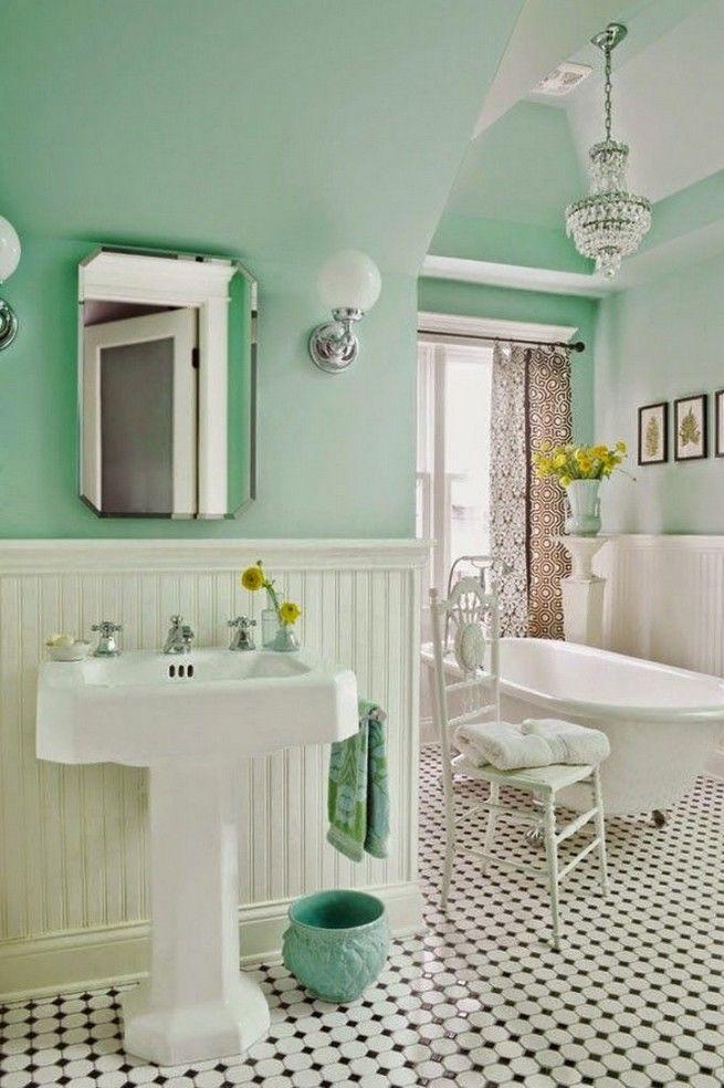 Xanh pastel kết hợp màu trắng giúp không gian phòng tắm không thể không nổi bật