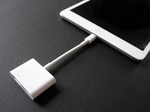 Connect the lightning adapter to your iPhone