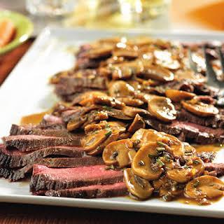 Flank Steak with Mushroom Sauce.