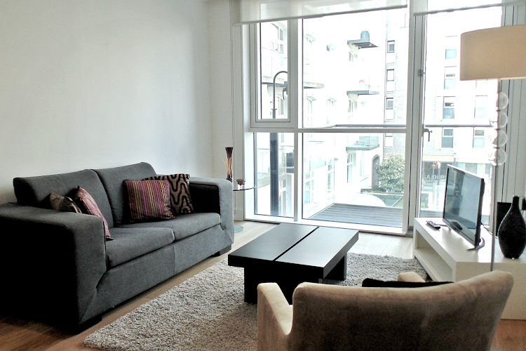 Living room at Aldgate apartment