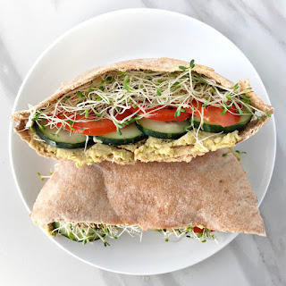 Veggie Pita Sandwiches with Avocado Hummus.