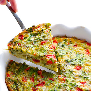 Baked Frittata with Roasted Red Peppers, Arugula and Pesto