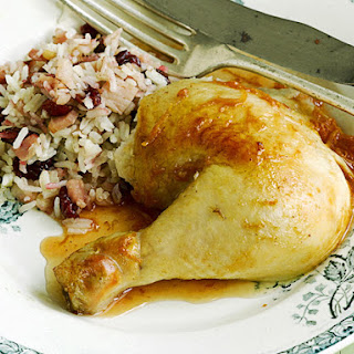 Roast Chicken with Rice and Craisin Stuffing.