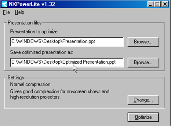 NXPowerLite Desktop Edition version 1