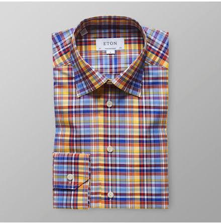 ETON Transformation gul blå röd rutig skjorta contemporary fit