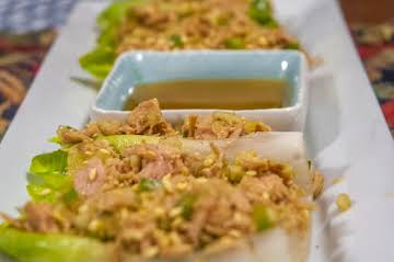 Asian Tuna Salad Appetizers  on Belgium Endive