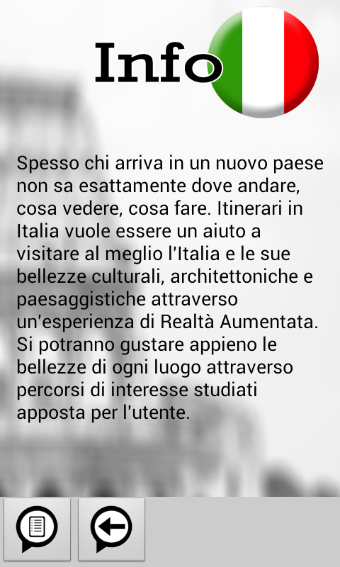 Скриншот Itinerari in Italia AR