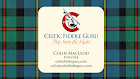 Celtic Fiddle Guru Logo with Ancient Hunting MacLeod Tartan