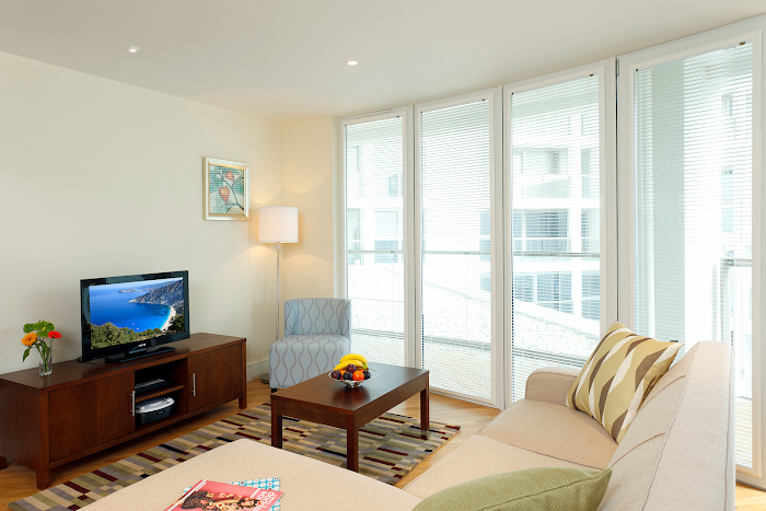 Living room at Canary Wharf apartment