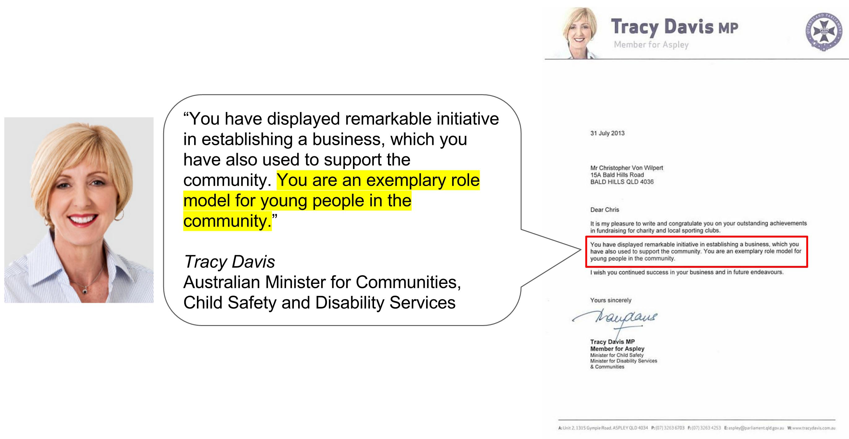 Australian Minister Letter