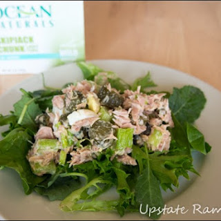 Healthy Tuna Salad with Pickles and Olives.