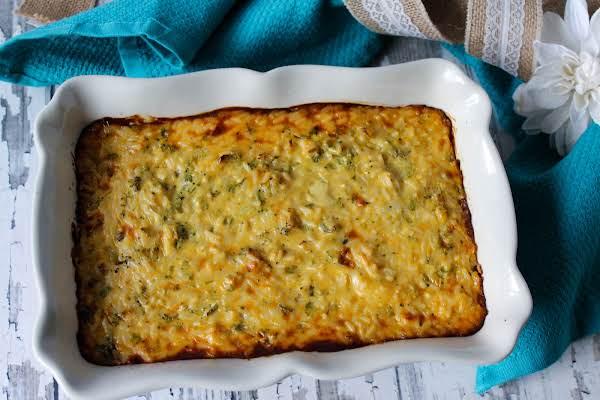 Baked Broccoli Rice Casserole.