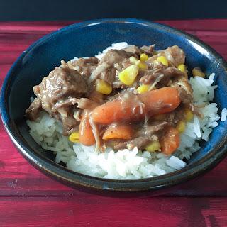 Pressure Cooker Beef Stew Over Rice