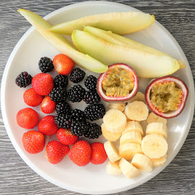 The fruit plate by Svetlana Saenkova - Food & Drink Fruits & Vegetables ( banana, passion fruit, strawberries, melon, breakfast )