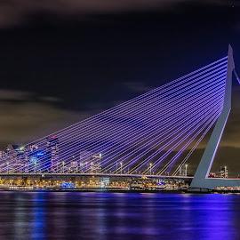 Erasmus bridge Rotterdam by Henk Smit - City,  Street & Park  Night