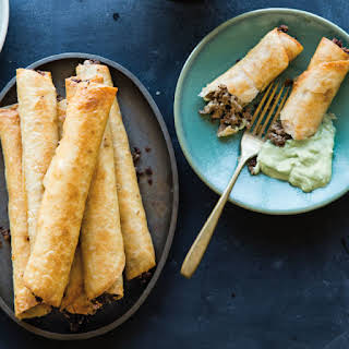 Beef and Monterey Jack Taquitos with Avocado Crema.
