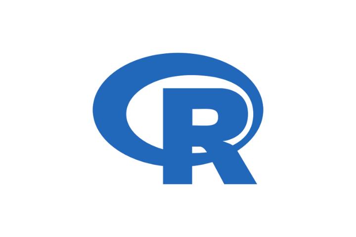 R's logo: blue capital R on blue circle on white background.