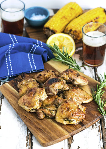 Beer-marinated braaied chicken thighs.