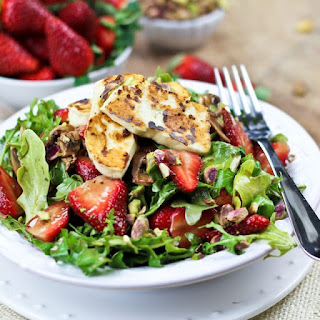 Strawberry and Arugula Salad with Grilled Halloumi.