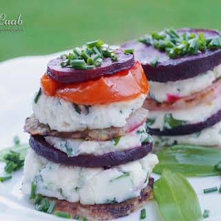 Sheep cheese and vegetable Napoleons.