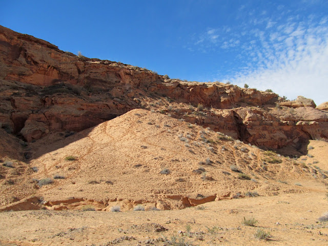 More sandy trail and a constructed stock trail through the sandstone