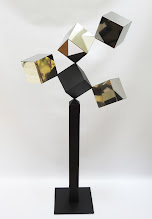 Photo: 24 REFLECTIONS AND A VOID - 58H X 27W X 12D Polished Stainless Steel, Painted Mild Steel, Rear View
