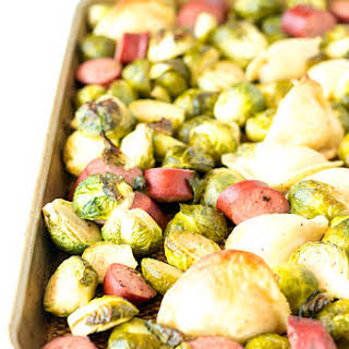 One Pan Roasted Turkey Kielbasa With Pierogi And Brussels Sprouts.