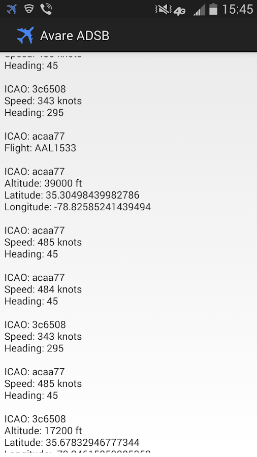 ADSB Receiver - screenshot