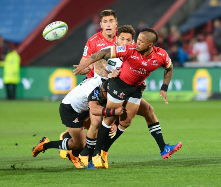 Jumpei Ogura of the Sunwolves tackles Elton Jantjies of the Lions during the Super Rugby match between Emirates Lions and Sunwolves at Emirates Airline Park on July 01, 2017 in Johannesburg, South Africa.