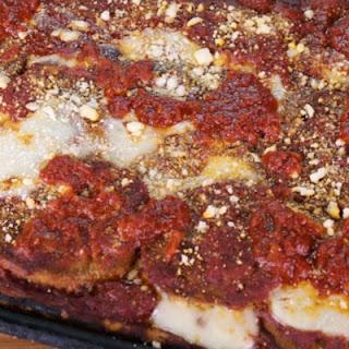 Eggplant Pizza with Sicilian Crust.