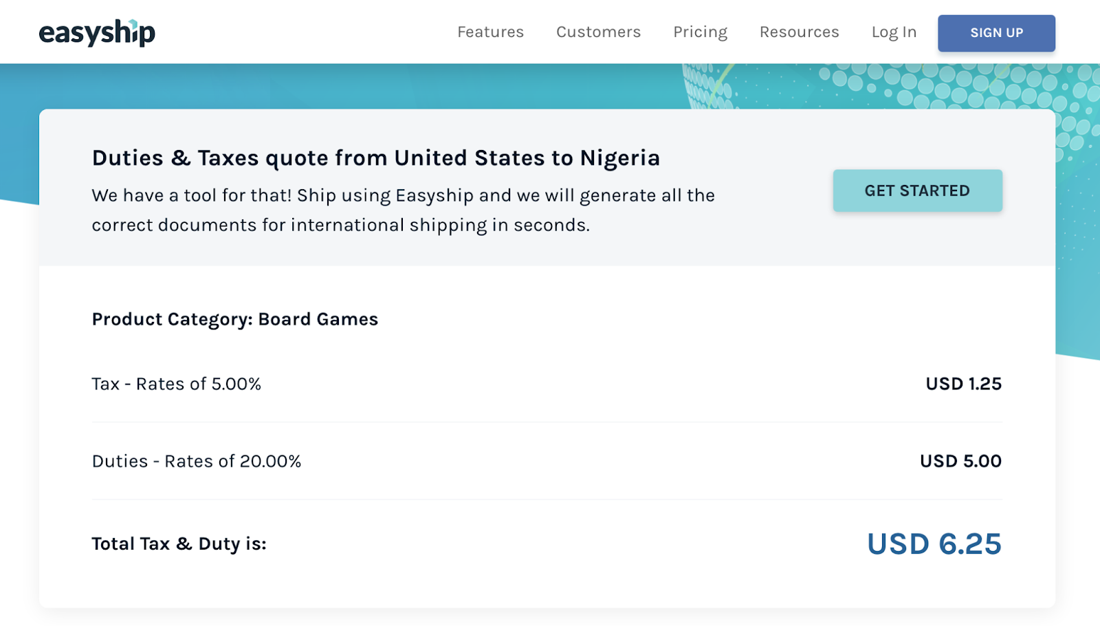 Duties and Taxes quote from US to Nigeria