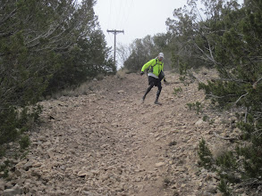 Photo: Kevin showing his downhill on loose scree prowess...