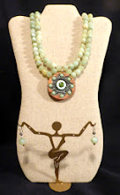 Photo: #146 LIFE'S CORE ~ ЯДРО ЖИТТЯ - fired clay pendant, new jade, clay beads, silver plate, leather $115/set N/A (festival draw prize)
