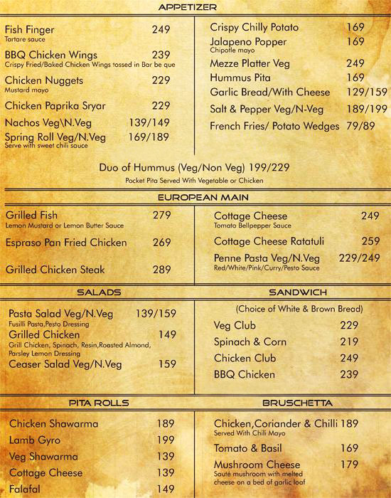Cafe Secret Society menu 1