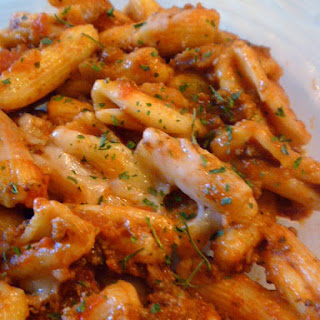 Quick Penne Pasta with Meat Sauce Recipe