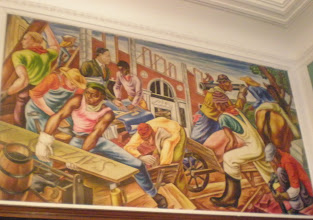 Photo: mural depiction of the construction of the Savery library