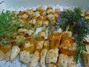 Photo: brochette volailles aux abricots