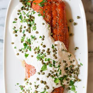 Smoky Oven Baked Salmon with Horseradish Sauce.