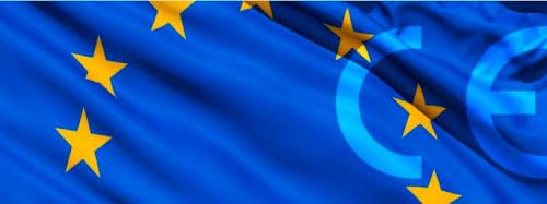 Маркировка CE на фоне флага ЕС