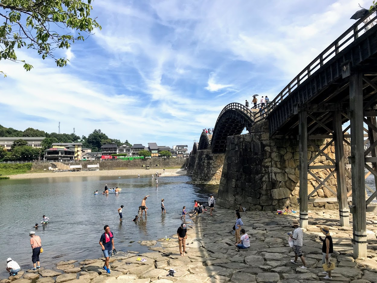 錦帯橋・水遊び