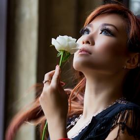 Thinking of You by Putu Anggara - People Portraits of Women ( rose, woman, jakarta, kota tua, portrait )