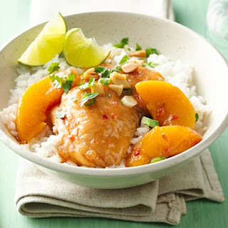 Make-Ahead Slow-Cooker Asian Peach Chicken Thighs.