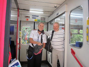 Photo: Andreas is made welcome by the conductor for a long train journey to London.
