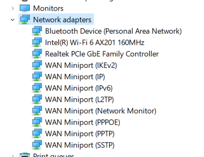 Network devices in the Network adapters section