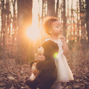 Thinking by Maria Lucas - Babies & Children Children Candids ( outdoor, fine art photography, childhood, sunset, teddy bear,  )