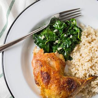 Crispy Chicken Thighs with Garlicky Spinach.