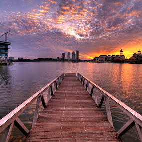 Sunrise over Pullman Hotel, Putrajaya by Nadly Aizat Nudri - Landscapes Waterscapes ( samyang, putrajaya, pier, magic hour, lake, malaysia, sunrise, jetty )